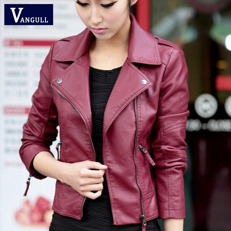 2016 Модель на весну и осень женская кожаная куртка косой молнией мотоциклетные модные повседневные искусственная кожа сплошной цвет пальто плюс размер 4XL
