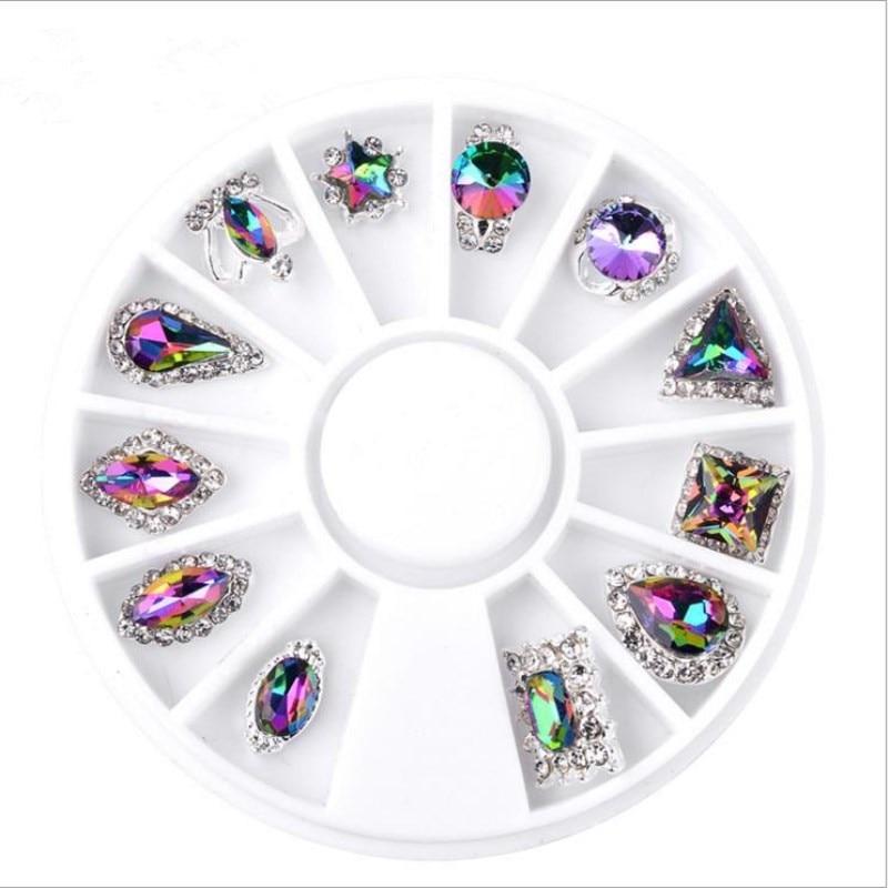 Moda Mezcla de alto grado 12 Diseño Cristal de aleación Crystal - Arte de uñas - foto 2