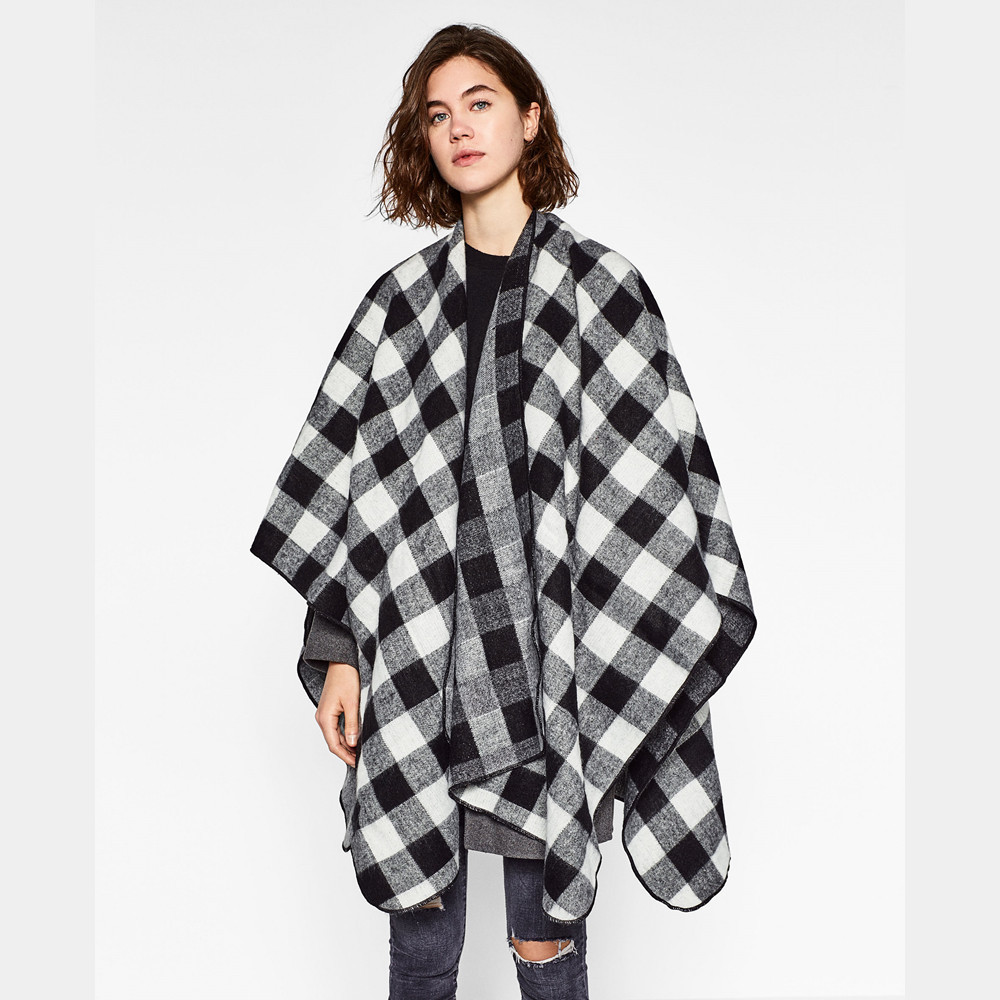 Shawls Plaid Scarf Luxury Brand Cashmere Poncho Winter Scarf Pashmina Women Ponchos and Capes Long Infinity Scarf