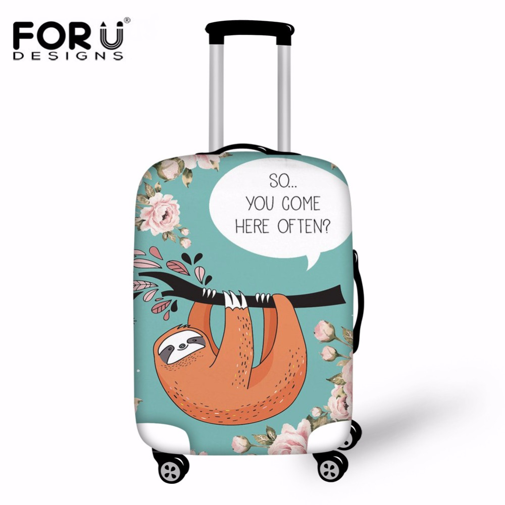 FORUDESIGNS Sloth Talk Print Fabric Luggage Protective Cover for 18-30inch Trolley Case Suitcase Dust Cover Travel Accessories star print refrigerator dust cover