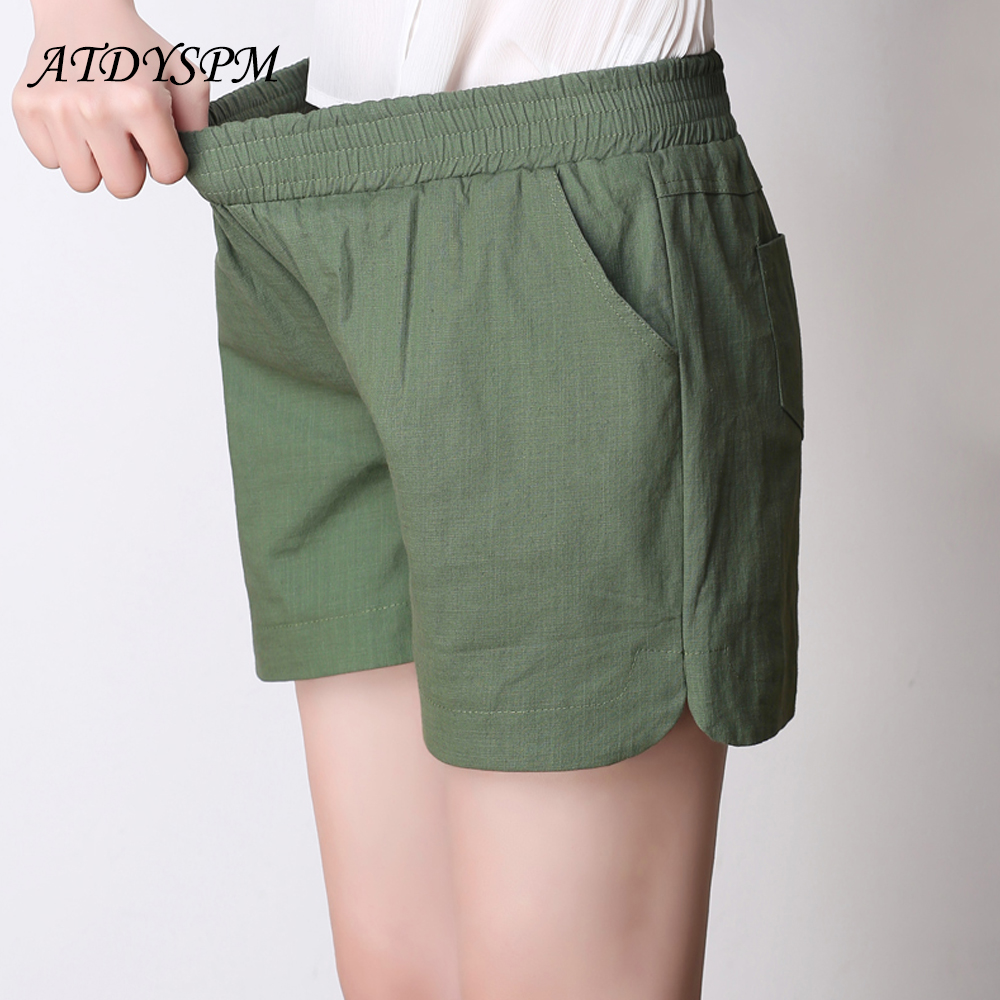 2019 summer new cotton and linen   shorts   female casual large size candy color linen   shorts   thin section loose   short   pants