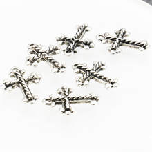 10PCS Lucky Cross Kaddish DIY Loose Finding Accessories Copper Metal Girl Jewelry Making Design Pendant Necklace Women 15x20mm(China)