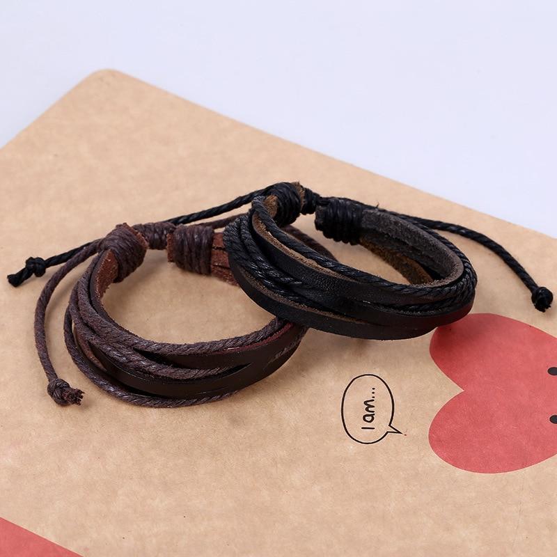 Divat Egyszerű Férfi Női Férfi Bőr Karkötő Multilámpa Fekete - Divatékszer