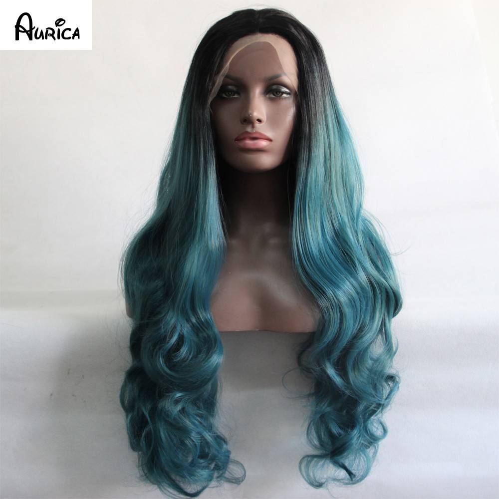 teal color bodywave wig5 aurica