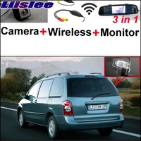 3 In1 Special Camera Wireless Receiver Mirror Monitor Back Up Parking System For Mazda MPV 2000
