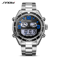 SINOBI Full Steel Sport Watches Digital Quartz Led Dual Display Watch Men Chronograph Date Army Male Waterproof Wristwatch 2017