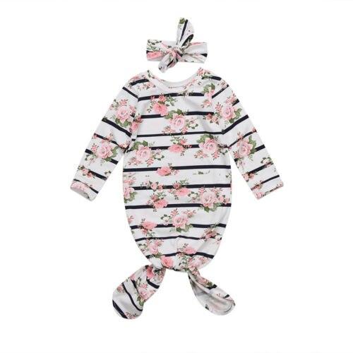 2018 Neugeborenen Baby Mädchen Roben Lange Hülse Kleidung 2 Stücke Floral Gestreiften Stirnband Outfit Herbst Verkauf 0-12 Mt PüNktliches Timing
