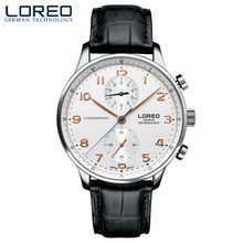 LOREO high quality blue needle genuine corrosion resistant scratch resistant waterproof fashion white men's quartz watch
