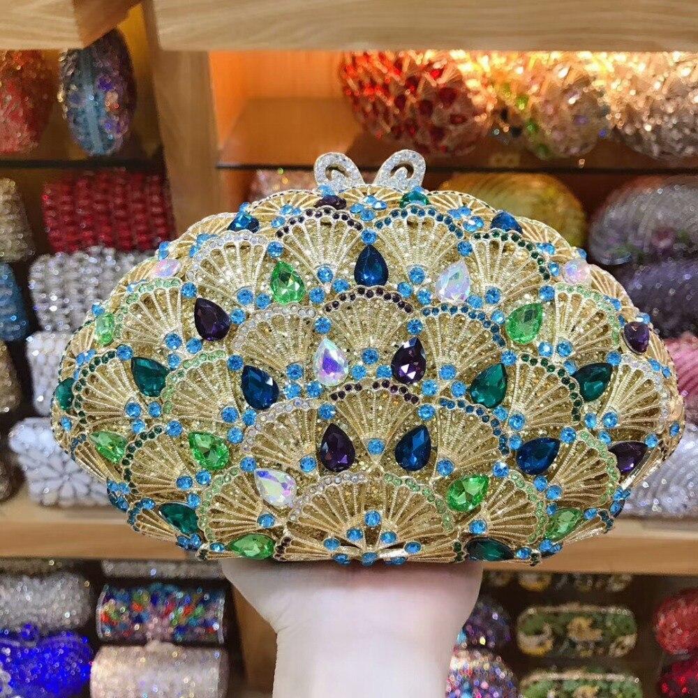 купить XIYUAN lady Crystal diamond evening bags Women clutch Purse Metal Minaudiere Handbag Wedding Bridal Mini shoulder crossbody Bag онлайн