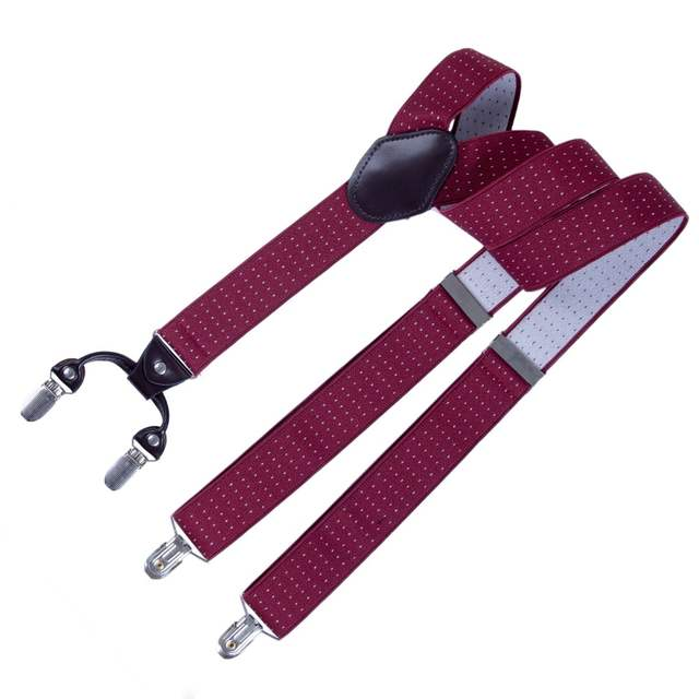 dc0a18476 placeholder AWAY Leather Male Suspenders Fashion Adult Red Wine 4 Clips  Elastic Straps for Jane  Pants