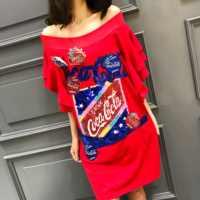 Длинная женская футболка в европейском стиле, с принтом в виде букв и блестками, на весну и лето 2020
