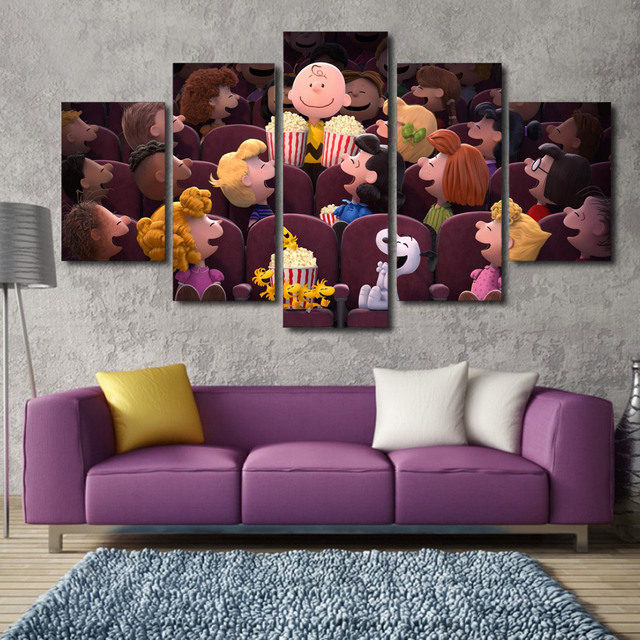 5 Pcs Cartoon Poster The Peanuts Cinema Canvas Painting On The Wall ...