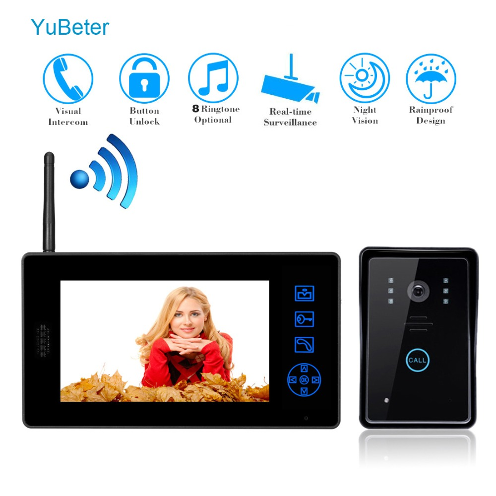 YuBeter 7 inch Wireless Video Intercom Key Wifi Video eye Doorbell Call For Private Homes Apartment