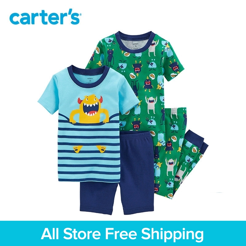 Carter's 4-Piece baby children kids clothing Boy Summer Snug Fit Cotton monster PaJamas 23161616 cami satin two piece summer pajamas
