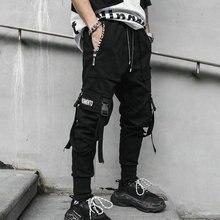 Весна, хип-хоп джоггеры, мужские черные шаровары, много карманов, с лентами, мужские тренировочные штаны, уличная одежда, повседневные мужские штаны, M-3XL