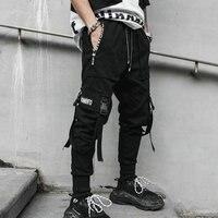 2019 Spring Hip Hop Joggers Men Black Harem Pants Multi pocket Ribbons Man Sweatpants Streetwear Casual Mens Pants M 3XL