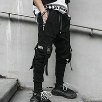 2019 Spring Hip Hop Joggers Men Black Harem Pants Multi pocket Ribbons Man Sweatpants Streetwear Casual Mens Pants M 3XL