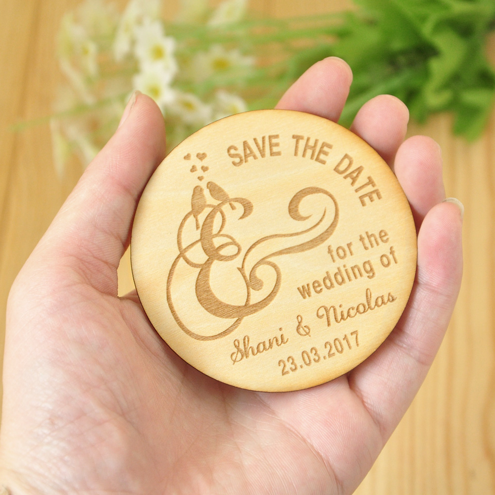 Wooden Save The Date Magnets, Rustic Wooden Magnets, Wedding Favors With  Birds, Fridge