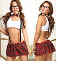 New 2016 Sexy Cute Kawa Students Uniforms Temptation Lingerie Set Women's Sexy Students Roleplay Costumes Nightgowns Freeship