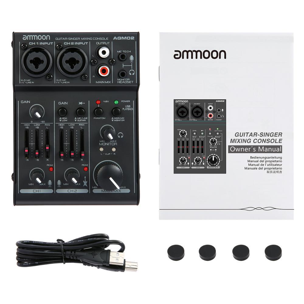 Ammoon AGM02 Mini Console de mixage de carte son 2 canaux table de mixage Audio numérique EQ 2 bandes alimentation fantôme 48 V intégrée 5 V alimentée par USB