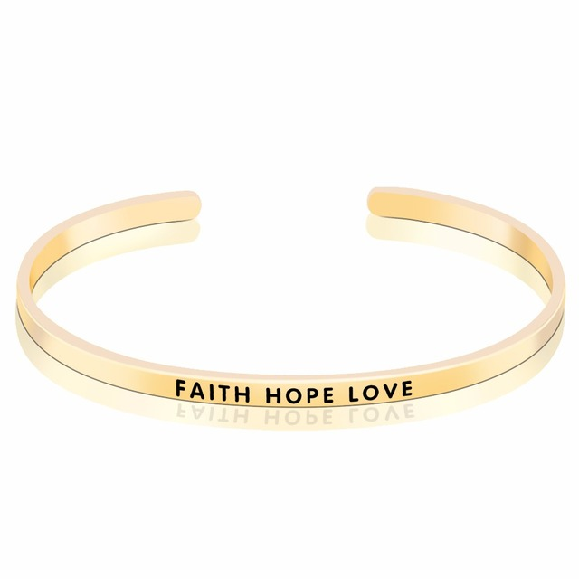 Yafeini 925 Sterling Silver Three Color Bracelet With Letter Faith Hope Love Bangle Gold Rose