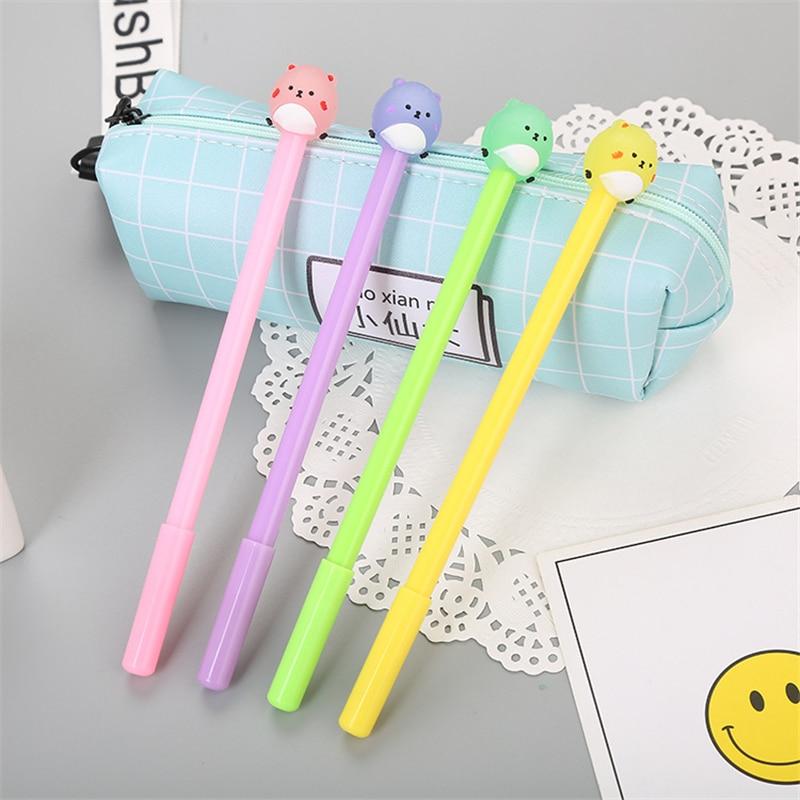 1pcs Cute Kawaii Black Ink  Bear Gel Pen 0.5mm Cartoon Plastic Gel Pens For Writing Office School Supplies Stationery