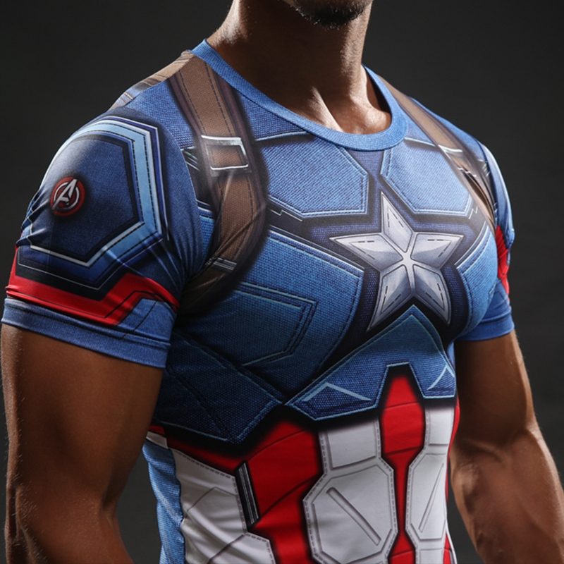 Captain america civil war compression shirt superheroez for Gym printed t shirts
