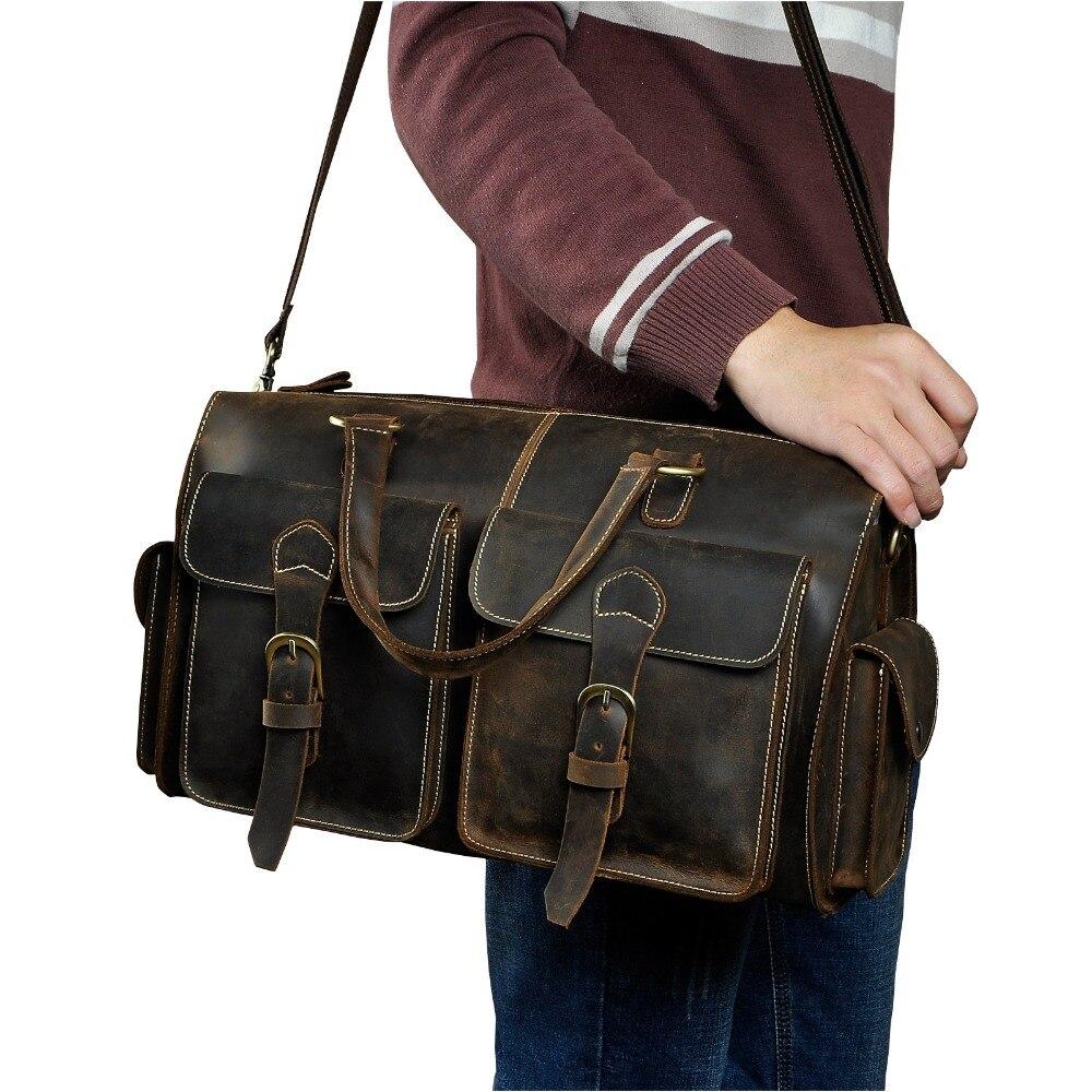 Hombres Origianl cuero diseñador viaje negocios maletín pesado Ordenador Portátil Bolsa Attache portafolio bolsa de mensajero 1097-in Carteras from Maletas y bolsas    1