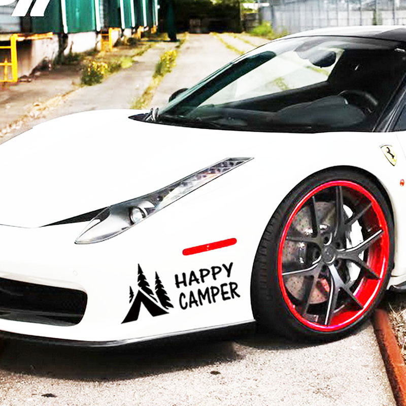 Hot Sale Happy Camper Camping Vinyl Graphics Decals Sticker For Car Truck jdm ...
