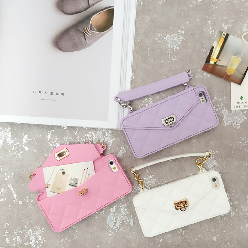 Soft Silicone Card Bag Metal Clasp Women Handbag Purse Phone Case Cover  With Chain For IphoneXS XR XSMax X 8 7 6 6S Plus 8PLus -in Wallet Cases  from ... f0863e6be6c0