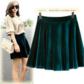 Free Shipping New Europe and America big yards gold velvet skirt bust big swing skirt pleated wool skirt sheds