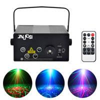 RGRB AUCD Mini Remote 5 Lente * 20 Patrones 4 Láser y AZUL LED Mix DJ Club de la Etapa de Efectos de Iluminación Inicio del Partido de Navidad Mostrar Luces L80