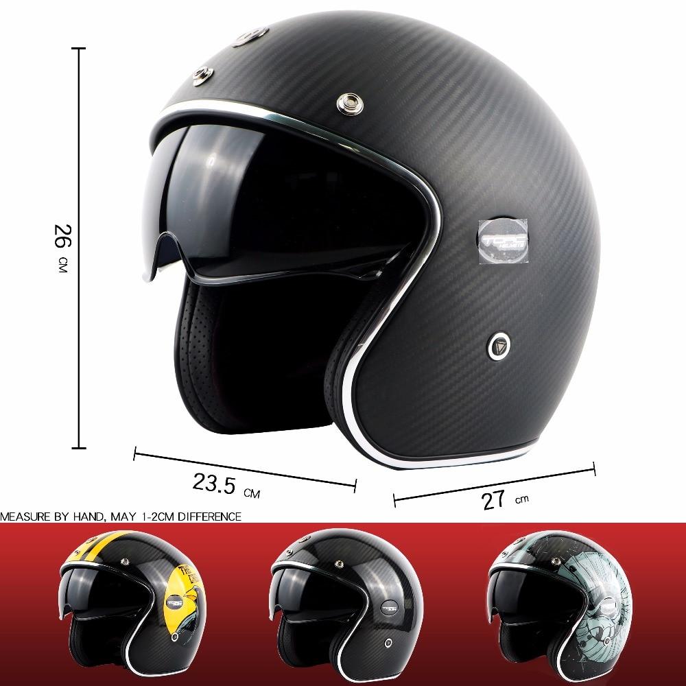 TORC brändi süsinikkiust MOTO kiiver casco capacetes vintage jet - Mootorrataste tarvikud ja osad - Foto 3