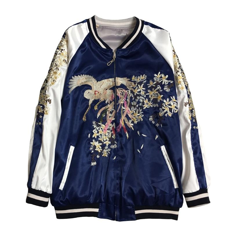 Double-sided Wear Phoenix Embroidery   Jacket   Women Casual Loose Satin   Basic     Jackets   Coat Female Bomber   Jacket   Unisex Tops