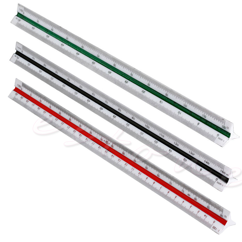 300mm Triangular Metric Scale Draughtsmens Ruler For Engineer Multicolor