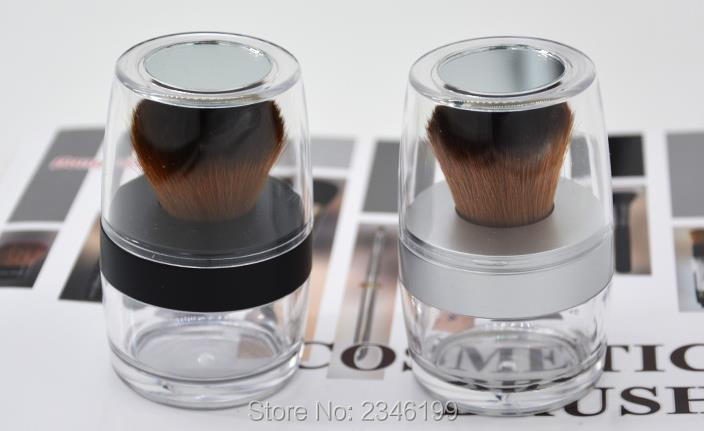 10G 2pcs/lot High Grade Empty Loose Powder Case with Brush, DIY Silver Black Portable Cosmetic Powder Bottle Box, Makeup Tool high quality cosmetic grade monobenzone monobenzone powder monobenzone 99%