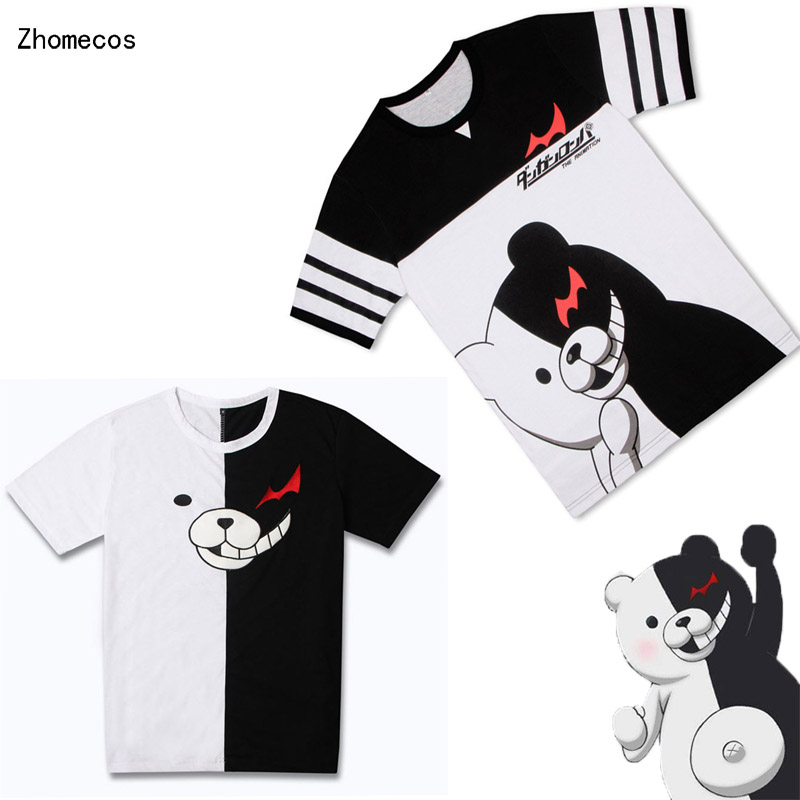 Cotton Unisex Anime Danganronpa Monokuma Short Sleeved T-Shirt  Costumes Cosplay For Woman Man Pluz Size