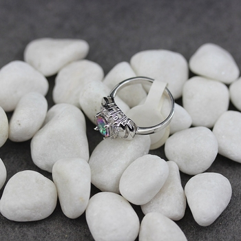Fleure esme vintage bezel setting rhodium plated ring white and rainbow cubic zirconia r781 size #6 7 8 9 treasurer recommended