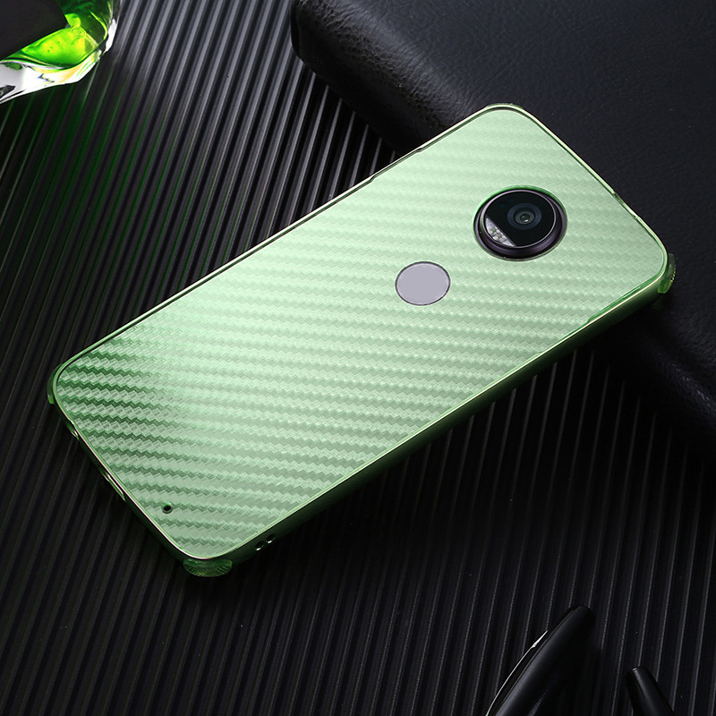 Luxury Electroplating Metal Bumper For Motorola MOTO Z2 Force Case Carbon Fiber PC Back Cover For MOTO Z2 Force Phone Case Shell