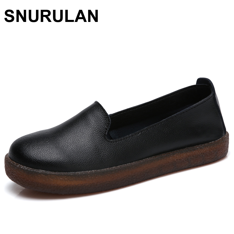 SNURULAN Women Flats Shoes Genuine Leather Slip-on Round Toe Muscle Sole Ladies casual Shoes Comfortable Soft Shoes Female Fall new fashion luxury women flats buckle shallow slip on soft cow genuine leather comfortable ladies brand casual shoes size 35 41