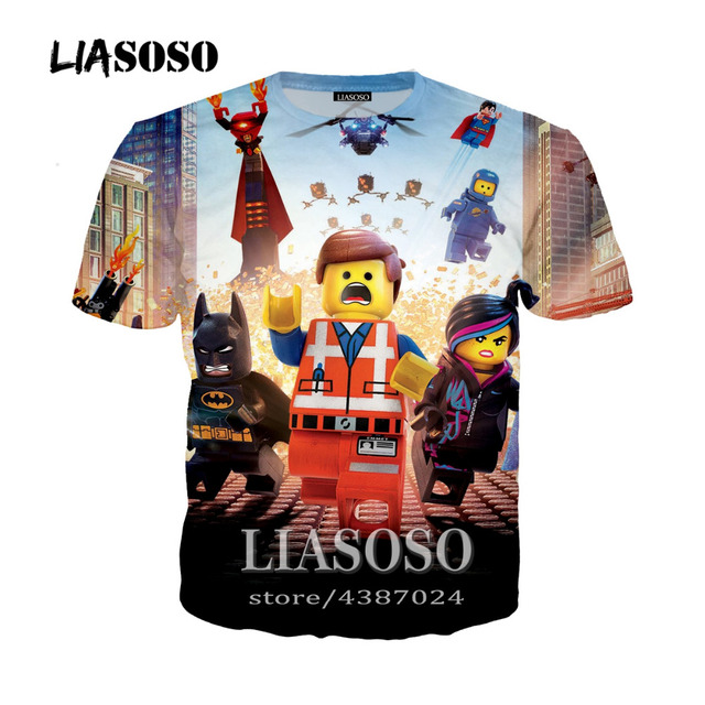 dbdbc514ae LIASOSO New Harajuku Style Pullover Tees Men Women Casual T-Shirt Cartoon  Anime The Lego