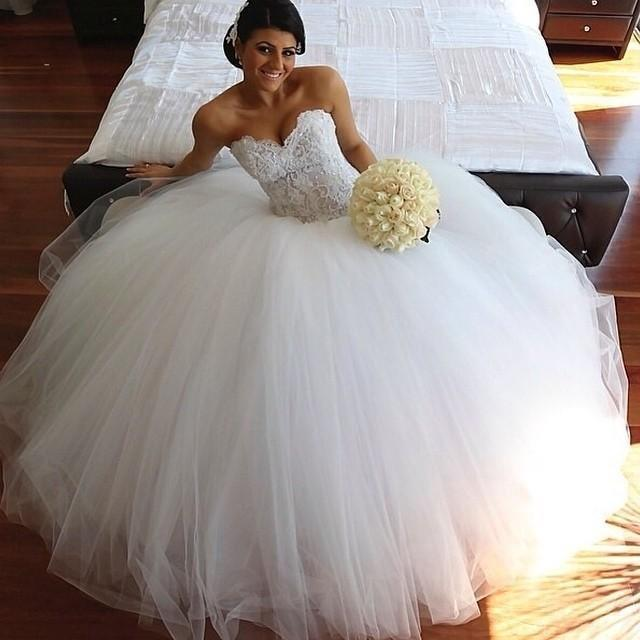 Aliexpress.com : Buy 2015 Princess Sweetheart Lace Tulle Ball Gown ...