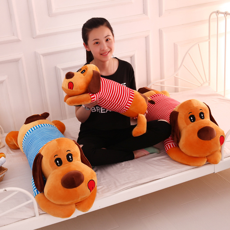 2018 New Arrival 1PC 45cm Sailors Striped Shirt Dog Plush Toys Cute Staffed Animal Doll Cushion Pillow Soft Kids Birthday Gift