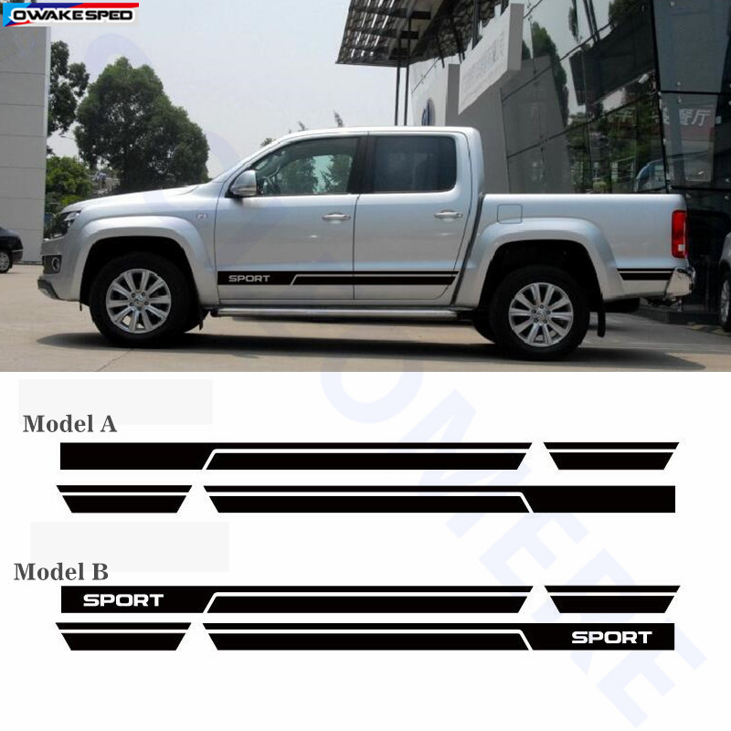 US $21 15 8% OFF|Sport Styling Auto Door Side Skirt Stripes Auto Body Decor  Stickers For Volkswagen AMAROK Automobile Accessories Decals-in Car