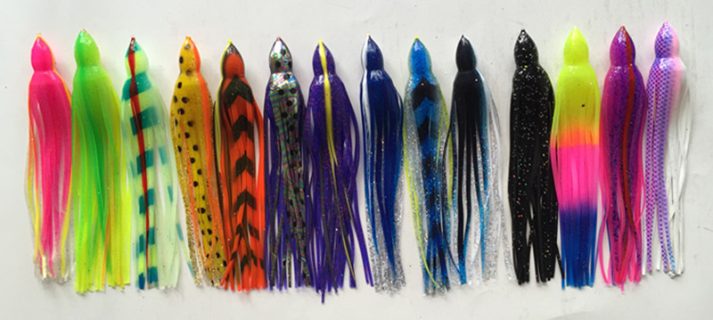 10inch Octopus Bait Tuna Lure Boat Trolling Lure Sea Fishing Lure Fishing Tackle Fourteen kinds of color selection 6 5 inch jig head octopus skirt bait sea tackle tuna lure trolling fishing lure copper head double skirt with line and hook