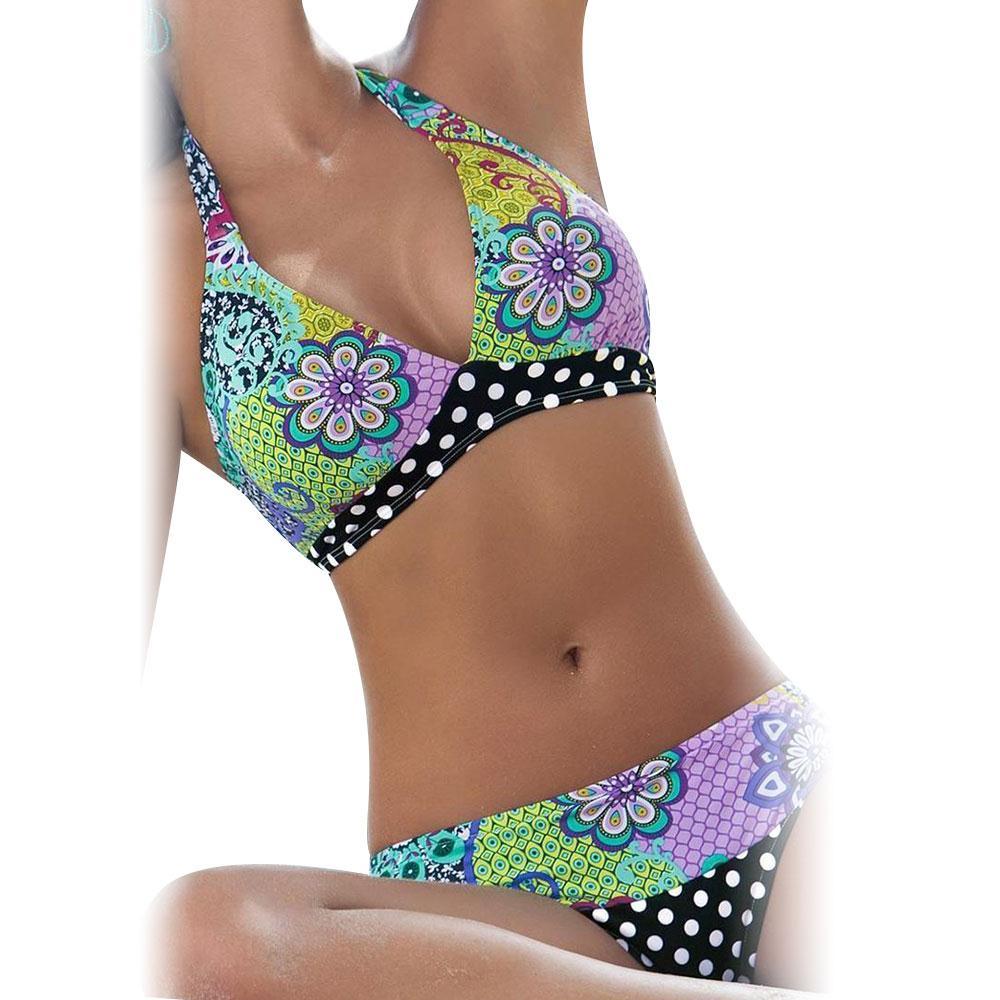 PGM Retro Bikini Swimwear Women Sexy Bikinis Bathing Suit Floral Halter Top Swimsuit Biquini maillot de bain femme 2017 promotion sexy bikini set women bathing suit floral swimsuit strappy bikinis swimwear biquini cut out bikini maillot de bain