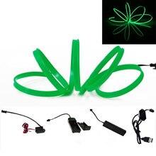 Зеленый автомобильный гибкий неоновый светильник светящийся el Wire 5 м 1 м 3 м 2 м 4 м светодиодный светильник с DC3V dc12v USB Звуковая активация контроллер инвертор