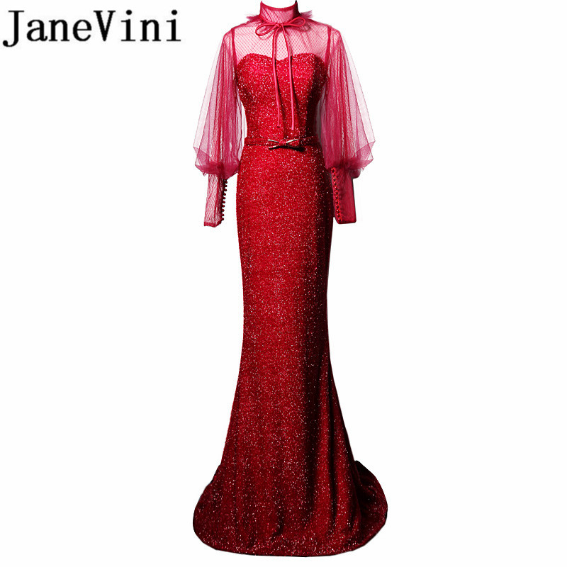 JaneVini Sparkly Sexy Burgundy Long Mermaid   Bridesmaid     Dresses   High Neck Long Sleeves Backless Wedding   Dresses   Women Sweep Train