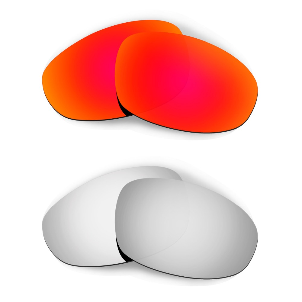HKUCO For  Juliet Sunglasses Polarized Replacement Lenses Red/Silver 2 Pairs