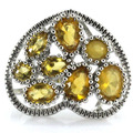 8# Hollow Golden Citrine SheCrown Created Engagement   Silver Ring 23x20mm